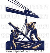 Clip Art of Retro Team of Construction Workers Using a Boom to Lift Lumber by Patrimonio
