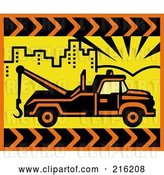 Clip Art of Retro Tow Truck in a Yellow City by Patrimonio