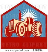 Clip Art of Retro Tractor Logo by Patrimonio