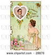 "Clip Art of Retro Valentine of a Beautiful Young Lady Leaning on a Table and Looking up at a Portrait of a Deceased Guy with Text Reading ""In Memory Dear, My Valentine"" Circa 1910 by OldPixels"