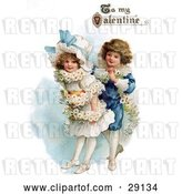 "Clip Art of Retro Valentine of a Boy Wrapping His Girlfriend in a White Daisy Flower Garland with ""To My Valentine"" Text, Circa 1890 by OldPixels"