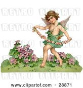 Clip Art of Retro Valentine of a Cupid Playfully Running Through a Garden and Carrying a Garland of Flowers, Circa 1888 by OldPixels