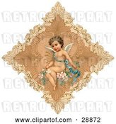 Clip Art of Retro Valentine of a Cute Cupid Draped in a Blue Ribbon, Sitting on Pink Flowers in the Center of a Delicate Diamond by OldPixels