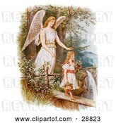 Clip Art of Retro Valentine of a Female Guardian Angel Looking over a Little Girl As She Carries Flowers and a Basket Across a Log over a Cliff and River, Circa 1890 by OldPixels