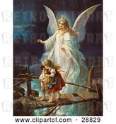 Clip Art of Retro Valentine of a Female Guardian Angel Protecting a Little Girl and Her Brother As They Cross over a River on a Narrow Broken Bridge, Circa 1890 by OldPixels