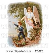 Clip Art of Retro Valentine of a Female Guardian Angel Watching over a Little Boy As He Picks Flowers and Chases Butterflies at the Edge of a Cliff, Circa 1890 by OldPixels
