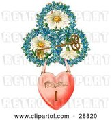 Clip Art of Retro Valentine of a Heart Locket Suspended from Rings of Blue Flowers Around White Daisies with a Gold Skeleton Key Circa 1890 by OldPixels