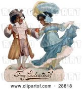 Clip Art of Retro Valentine of a Romantic Black Couple in Beautiful Clothing, Ballroom Dancing, Circa 1890 by OldPixels