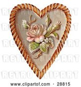 Clip Art of Retro Valentine of a Rose and Blossoms on a Heart, Circa 1890 by OldPixels