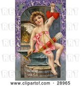 Clip Art of Retro Valentine of Cupid Forging Two Valentine Hearts, Sitting on an Anvil with Arrows Hanging from His Chest, Circa 1911. by OldPixels