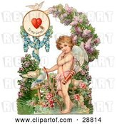Clip Art of Retro Valentine of Cupid Resting His Bow on the Ground in a Flower Garden Circa 1890 by OldPixels