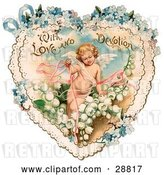 Clip Art of Retro Valentine of Cupid with Ribbons, Prancing in White Lily of the Valley Flowers on a Lacy Heart with Forget Me Not Flowers, Circa 1890 by OldPixels