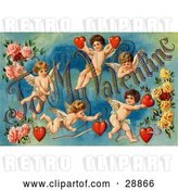 "Clip Art of Retro Valentine of Five Playful Cupids with Roses, Decorated ""To My Valentine"" Text with Red Hearts, Circa 1911 by OldPixels"