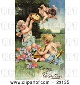 Clip Art of Retro Valentine of Three Cherubs, One Flying, Playing Tambourines and Mandolins with Hearts and Purple Flowers, Circa 1906 by OldPixels