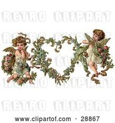 Clip Art of Retro Valentine of Two Adorable Cupids with Roses Beside a Gilded Forget Me Not Valentine Heart Wreath by OldPixels