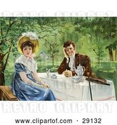 Clip Art of Retro Victorian Couple Drinking Tea Outdoors on a Nice Day, the Lady Looking Away from the Guy, Circa 1830 by OldPixels