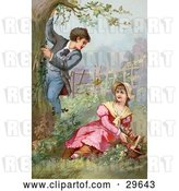 Clip Art of Retro Victorian Scene of a Little Boy Climbing a Tree While Showing off for a Girl As She Picks Flowers in a Garden, Circa 1890 by OldPixels