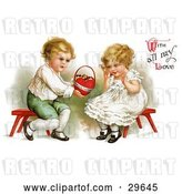 "Clip Art of Retro Victorian Scene of a Sweet Little Boy Sitting on a Red Stool, Holding out a Basket of Candy to a Girl and ""With All My Love"" Text, by Ellen H. Clapsaddle, Circa 1912 by OldPixels"