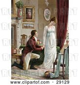 Clip Art of Retro Victorian Scene of a Young Guy on Bended Knee, Proposing to a Lovely but Pouty Young Lady in a Home Interior, Circa 1830 by OldPixels