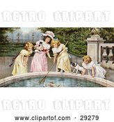 Clip Art of Retro Victorian Scene of Four Little Girls with Their Dogs, Fishing Goldfish out of a Pnd in a Park, Circa 1880 by OldPixels