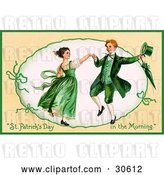 Clip Art of Retro Victorian St Patrick's Day Scene of a Happy Young Irish Couple Dressed in Green and Dancing, Circa 1909 by OldPixels