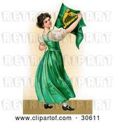 Clip Art of Retro Victorian St Patrick's Day Scene of a Patriotic Young Irish Lady Wearing a Green Dress, Holding an Irish Flag, Circa 1907 by OldPixels