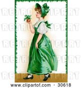 Clip Art of Retro Victorian St Patrick's Day Scene of a Young Irish Lady in a Green Dress and Bonnet, Carrying a Small Plant, Circa 1907 by OldPixels