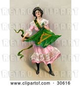 Clip Art of Retro Victorian St Patrick's Day Scene of a Young Lady in a Pink Dress, Holding the Traditional Irish Flag, Circa 1903 by OldPixels