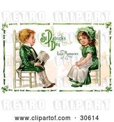 Clip Art of Retro Victorian St Patrick's Day Scene of an Irish Boy and Girl Dressed in Green and Sitting in Chairs Across from Each Other, Circa 1911 by OldPixels