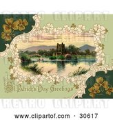 Clip Art of Retro Victorian St Patrick's Day Scene of Clovers Around Ross Castle in Killarney, Ireland, Circa 1913 by OldPixels