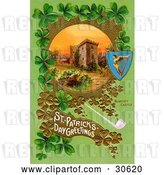 Clip Art of Retro Victorian St Patrick's Day Scene of Ireland's Blarney Castle Surrounded by Gold and Green Clovers, Circa 1910 by OldPixels