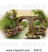 Clip Art of Retro Victorian St Patrick's Day Scene of Irelands Old Weir Bridge in Killarney, Circa 1910 by OldPixels