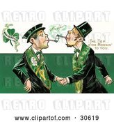 Clip Art of Retro Victorian St Patrick's Day Scene of Two Friendly Irish Men Dressed in Green, Touching Tobacco Pipes and Shaking Hands, Circa 1910 by OldPixels