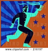 Clip Art of Retro Waitor Running to Deliver Coffee - 1 by Patrimonio