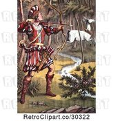Clip Art of Retro Warrior Hunting a White Fawn by Prawny Vintage