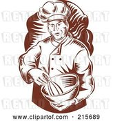 Clip Art of Retro Woodcut Chef Mixing Ingredients by Patrimonio