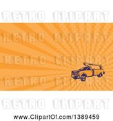 July 21st, 2018: Clip Art of Retro Woodcut Cherry Picker Lift Truck and Orange Rays Background or Business Card Design by Patrimonio