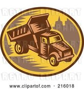 Clip Art of Retro Woodcut Dump Truck Logo by Patrimonio