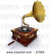 Clip Art of Retro Wooden Gramophone with a Handle and Golden Horn Playing Music from a Record by KJ Pargeter