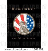 Clip Art of Retro WWII American Soldier with a Bayonet in an American Flag Circle with Remember Our Fallen Heroes Text on Black by Patrimonio