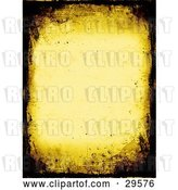 Clip Art of Retro Yellow Stationery Background Bordered with Dark Brown Grunge Textures by KJ Pargeter