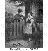 Clip Art of Retro Young Couple Talking at a Fence with Ducks in the Yard, in by Picsburg