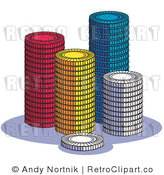 Clip Art Poker Chips Royalty Free Retro Vector by Andy Nortnik
