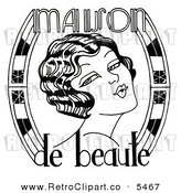 Clipart of a Black and White Pretty Maison De Beaute Woman by LoopyLand