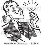 Clipart of a Happy Retro Man Holding a Cocktail by BestVector
