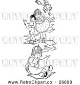 Clipart of a Retro Children with Paper by Prawny Vintage