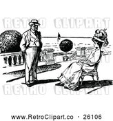 Clipart of a Retro Couple on a Patio by Prawny Vintage