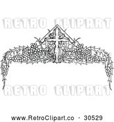 Clipart of a Retro Cross and Grape Vine Page Border by Prawny Vintage