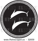 Clipart of a Retro Greek Dolphin Shield by Picsburg