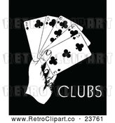 Clipart of a Retro Hand with 2, 3, 4, 5, 10 of Clubs Playing Cards by Prawny Vintage